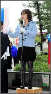 稲田朋美の網タイツ画像